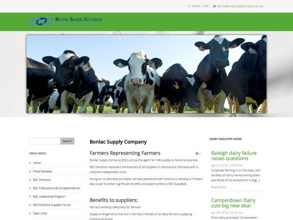 Tim Howell Web Design - Bonlac Supply Company, Melbourne, Australia